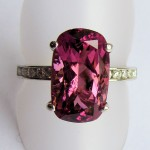 Nigerian tourmaline T-F ring in 18ct white gold with 0.20 cts fine quality diamonds