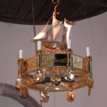 Church Boat Chandelier Boat side view