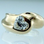 Hand Carved Heart Shaped Diamond Ring