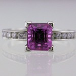 Pink Sapphire Tutti-Frutti Platinum and Diamond Ring