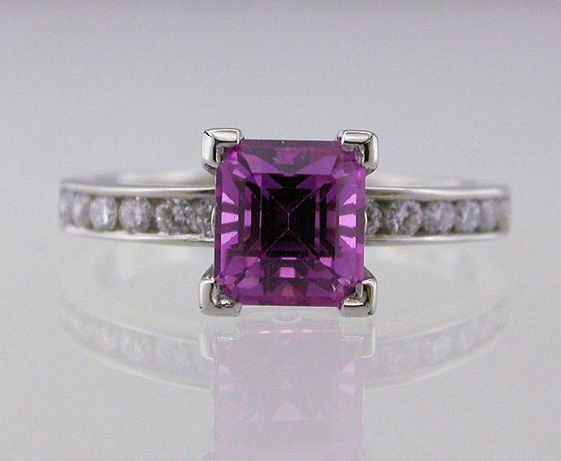 Pink Sapphire Tutti-Frutti Platinum and Diamond Ring