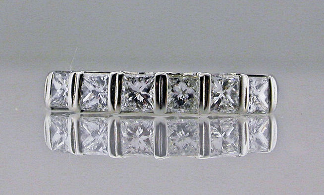 Platinum and Princess cut Diamond Eternity Ring