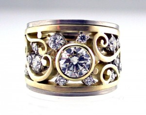 Remodeling in 2 colour gold and customers own diamonds