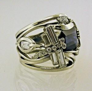 Sapphire diamond designer ring