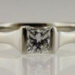 Single Stone Platinum and Princess Cut Diamond Engagement Ring