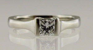 Single stone platinum and princess cut Diamond Engagement Ring