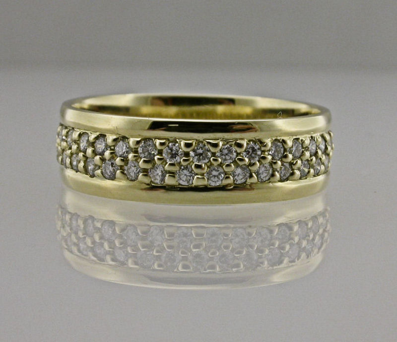 Yellow Gold and Diamond Gents Wedding Ring