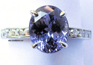 Tutti-Frutti Tanzanite 18ct white gold and Daimond Ring